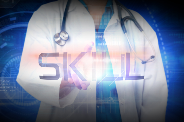 Doctor presenting the word skill against futuristic shiny blue design