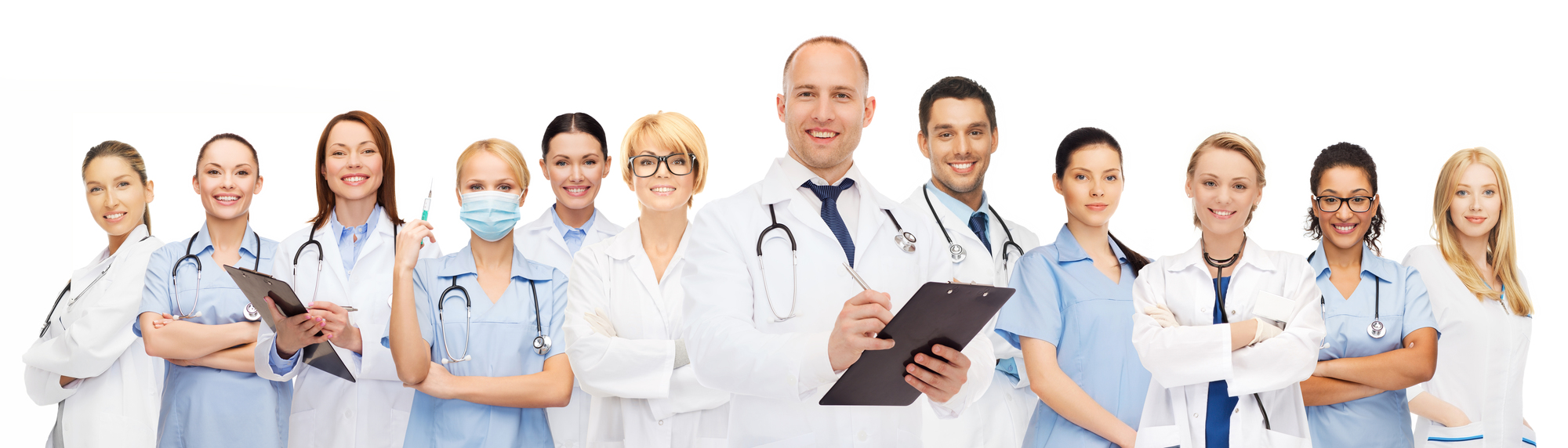 medicine, profession, teamwork and healthcare concept - international group of smiling medics or doctors with clipboard and stethoscopes over white background